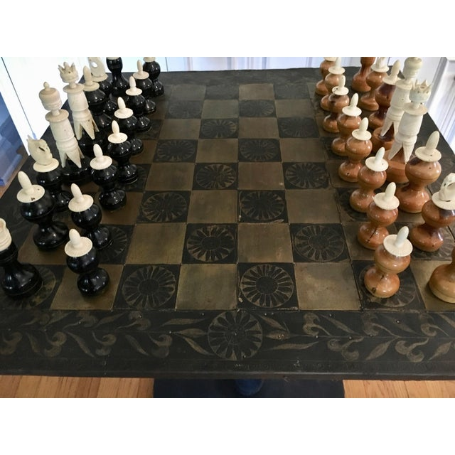Metal Mexaican Chess Board Table With Hand-Carved Wooden Chess Men For Sale - Image 4 of 8