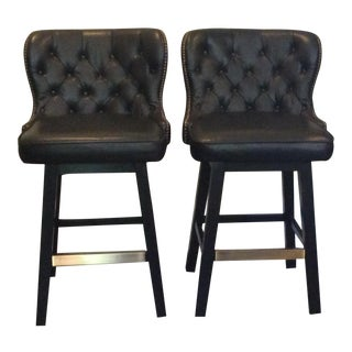 Traditional Pottery Barn Swivel Tufted Leather Bar Stools - a Pair For Sale