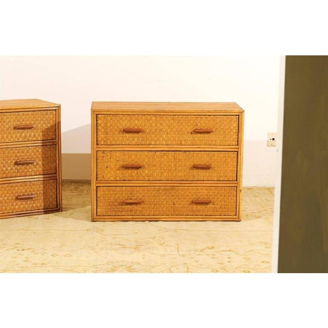 Handsome Pair of Restored Vintage Bamboo and Rattan Chests For Sale In Atlanta - Image 6 of 10