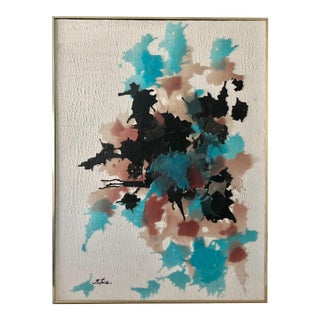 Mid-Century Large Abstract Colorful Wax Painting
