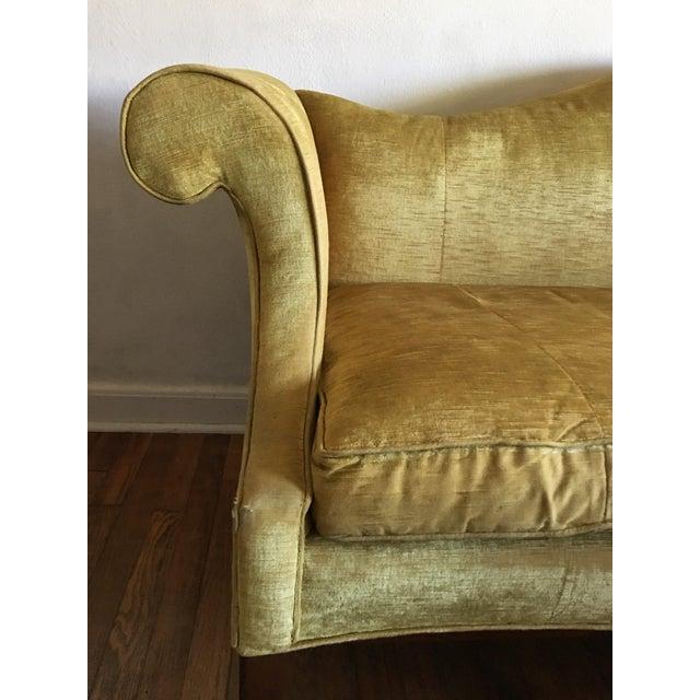 Boho Chic Mid Century Modern Crushed Velvet Camelback Sofa For Sale - Image 3 of 11