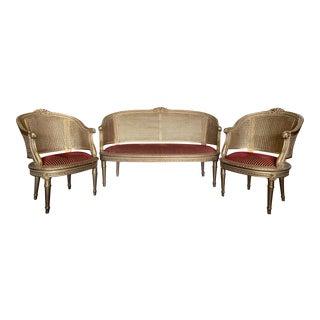 1990s Vintage French Louis XVI Style Giltwood Sofa Set - 3 Pieces For Sale