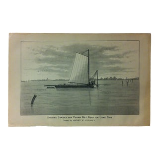 "Vintage Black & White Fishing Print, ""Driving Stakes for Pound-Net Boat on Lake Erie"", Circa 1930 For Sale"