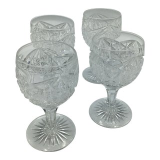 Brilliant Cut Crystal Port Glasses-4 For Sale