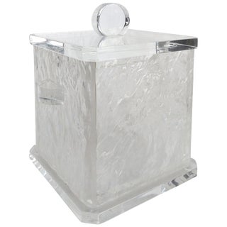 Mid-Century Modern Lucite Ice Bucket With Liner and Cover For Sale