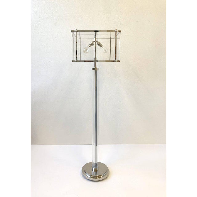 Modern Pair of Polish Nickel and Acrylic Floor Lamps by Charles Hollis Jones For Sale - Image 3 of 9