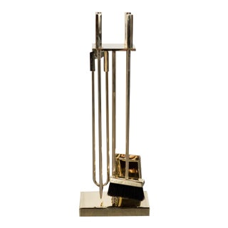 Custom Modernist Four-Piece Fire Tool Set in Polished Brass For Sale