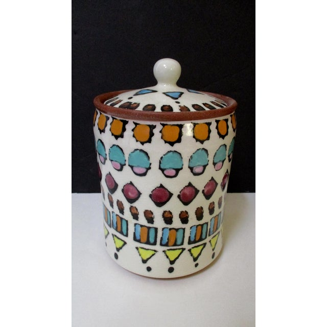 Blue Hand Painted Italian Ceramic Canisters - Set of 4 For Sale - Image 8 of 11