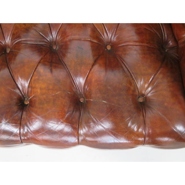 Brown Leather Chesterfield Settee & Carved Skirt - Image 6 of 7