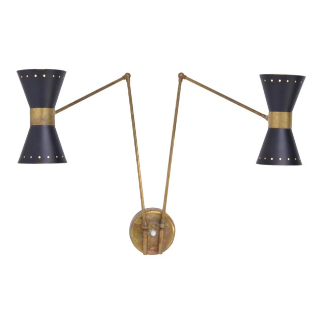 Italian Two-Armed Adjustable Metal Wall Lamp With Brass Elements For Sale