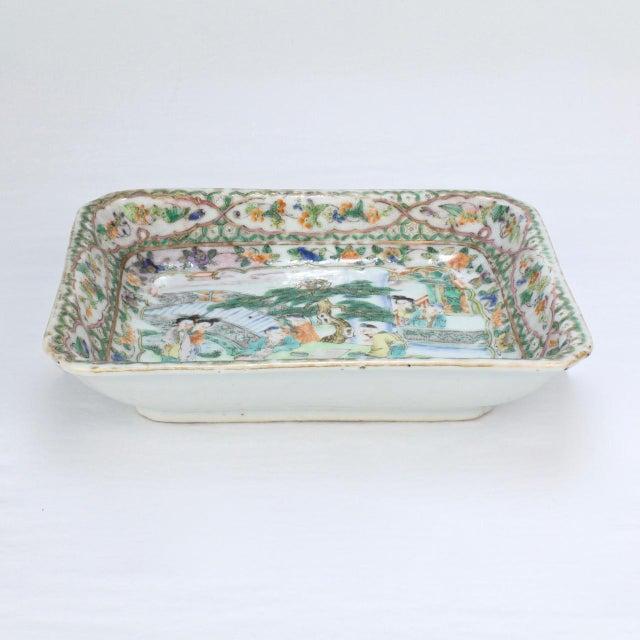 Antique Chinese Export Porcelain Famille Verte Bowl For Sale - Image 4 of 13