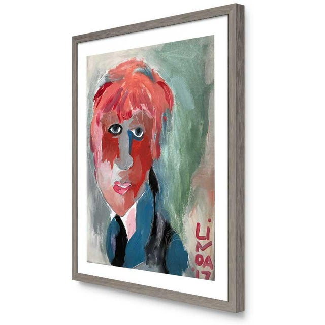 """Abstract Contemporary Abstract Portrait Painting """"It's All Connected"""" - Framed For Sale - Image 3 of 5"""