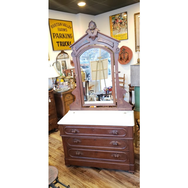 19th Century Antique Eastlake Style Dresser With Mirror and Hidden Drawer For Sale - Image 12 of 12