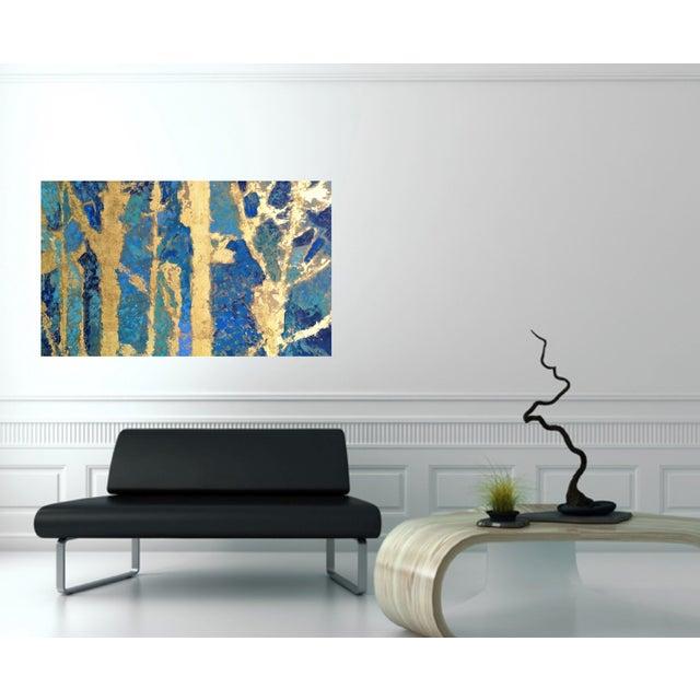 Bryan Boomershine Aqua Gold Abstract Painting - Image 3 of 4