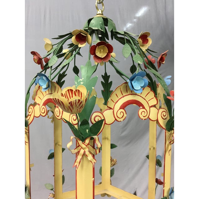 Asian Palace Floral Design Pendant Light For Sale - Image 3 of 5