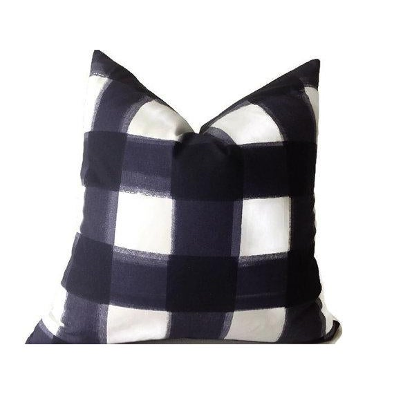 Contemporary Blue Buffalo Check Pillow Cover For Sale - Image 3 of 3