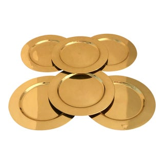 Shiny Brass Chargers, Set of 6 For Sale