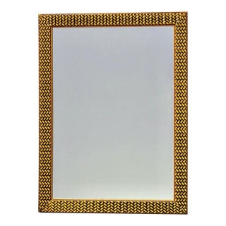 Mid Century Mirror With Woven Texture Gilded Finish Frame For Sale