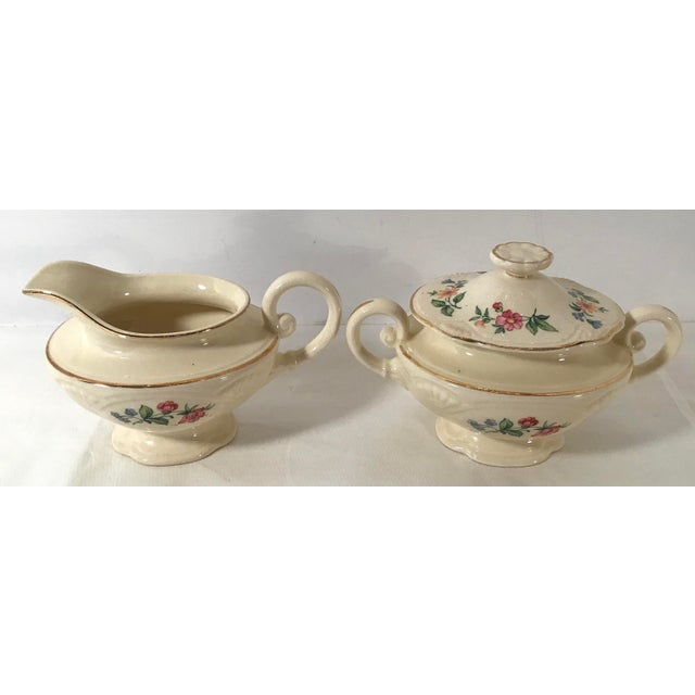 Homer Laughlin Floral Creamer and Sugar Bowl For Sale - Image 4 of 11