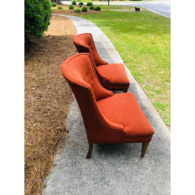 Pair of Vintage Accent Chairs. Upholstery is a tweed like material and is in great condition, believed to be original but...