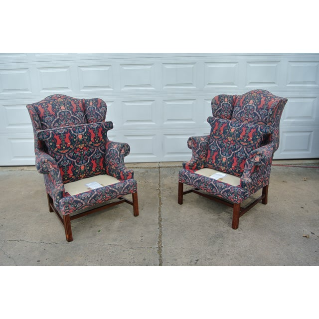 1970s 1970s Vintage Wingback Upholstered Chairs- A Pair For Sale - Image 5 of 11