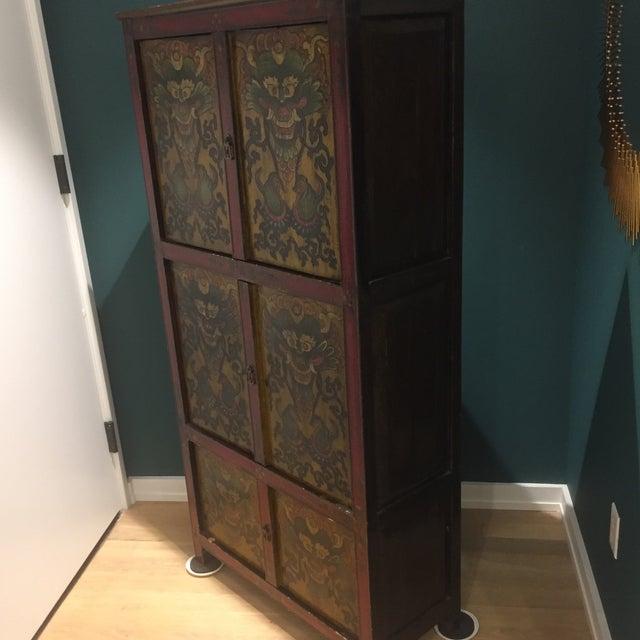 Antique Tibetan Hand-Painted Six Door Cabinet - Image 3 of 9
