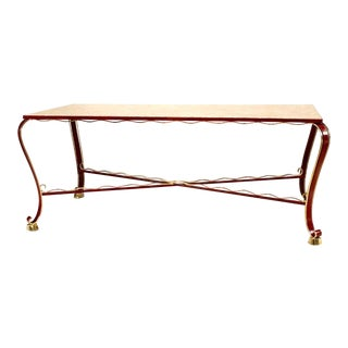 Italian 1930s Red Lacquered Iron Dining Table For Sale