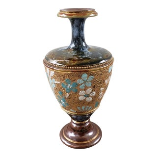 Early 20th Century English Art Nouveau Royal Doulton Stoneware Tapestry Baluster Vase For Sale