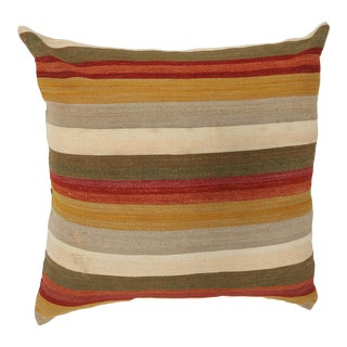 "Arteverk Vintage Hand Woven Colorful Stripe Modern Kilim Pillow 36""x36"" For Sale"