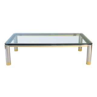 1970s Polished Stainless Steel, Glass and Brass Coffee Table For Sale