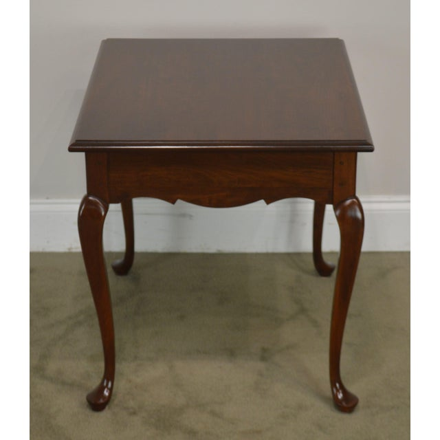 Hitchcock Old Litchfield Solid Cherry Pair Queen Anne One Drawer Side Tables For Sale In Philadelphia - Image 6 of 13