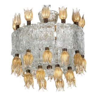 Murano glass chandelier by barovier & toso 50s For Sale