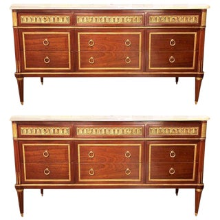 Pair of Monumental Louis XVI Style Marble Top Commodes in Maison Jansen Fashion