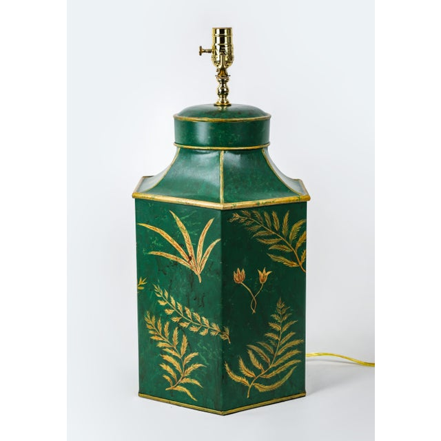 Late 20th Century Vintage English Export Painted With Ferns Leave Style Green Hexagonal Tea Caddy Lamp For Sale - Image 5 of 9
