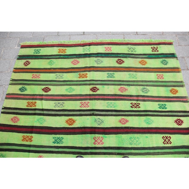 Turkish Overdyed Green Color Kilim - 7'4'' x 5'11'' For Sale - Image 4 of 11