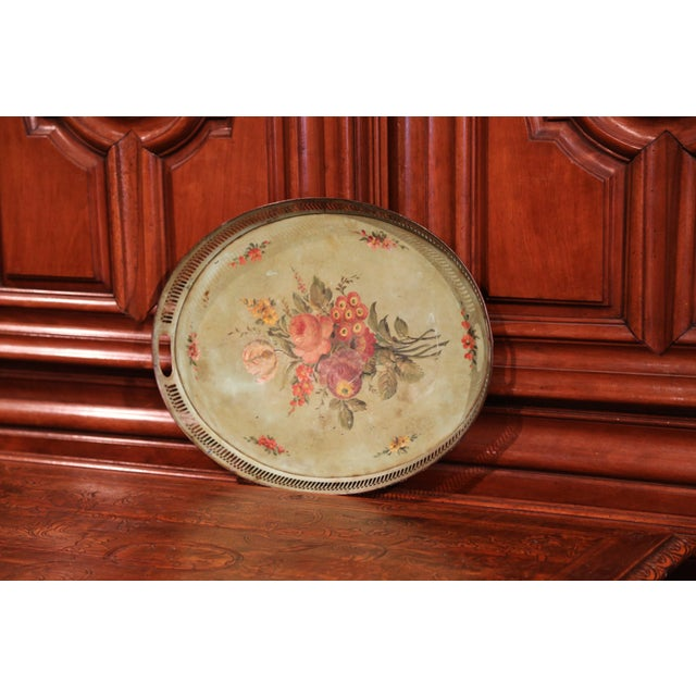French 19th Century French Hand-Painted Oval Gallery Tole Tray With Flowers and Foliage For Sale - Image 3 of 6