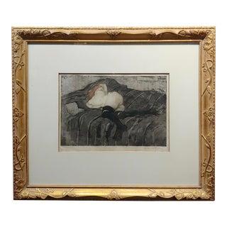 Manuel Robbe -Le Livre Abandonne -La Belle époque Original Aquatint-C1907 For Sale