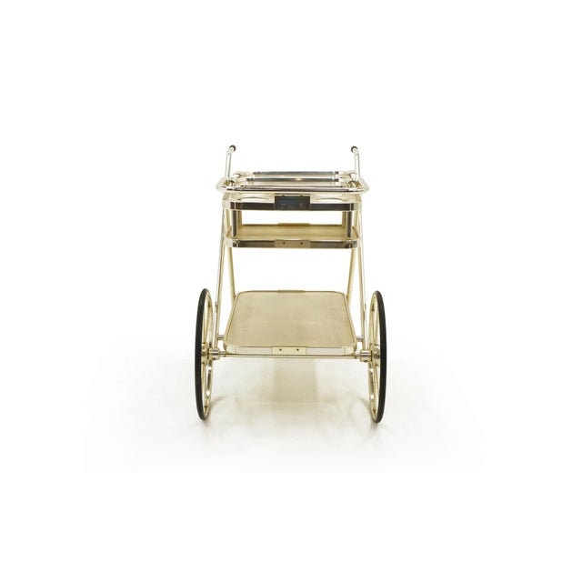 White Bar / Serving Cart With Trays. Anodized Aluminum,Stainless and Chromed Steel. For Sale - Image 8 of 10