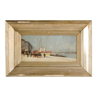 """19th Century """"Harbor During Date"""" Maritime Oil Painting Signed A. Michel, Framed For Sale"""