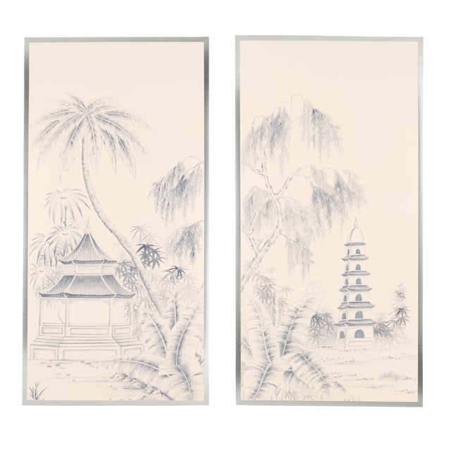 "Not Yet Made - Made To Order ""Blue Pagoda Garden"" Chinoiserie Framed Silk Panel Diptychs by Jardins en Fleur - Set of 2 For Sale - Image 5 of 5"