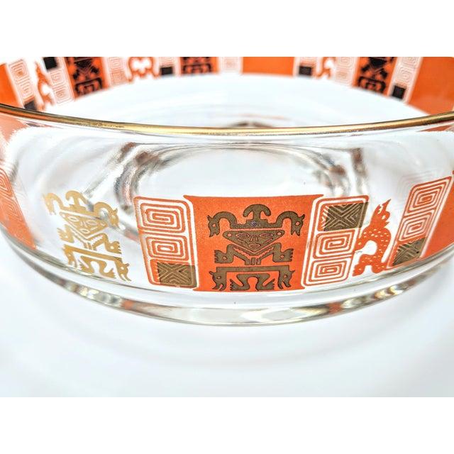 Orange & Gold Mid-Century Mayan Motif Candy Bowl - Image 3 of 5