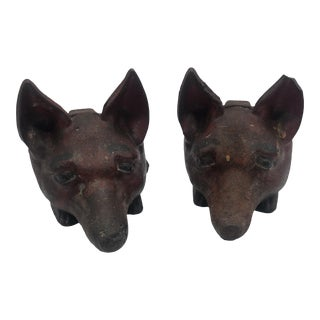 1910 Antique Cast Iron Fox Head Door Stops - a Pair For Sale