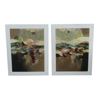 1990s Joanne Rafferty Large Abstract Signed Original Mixed Media Paintings - a Pair For Sale