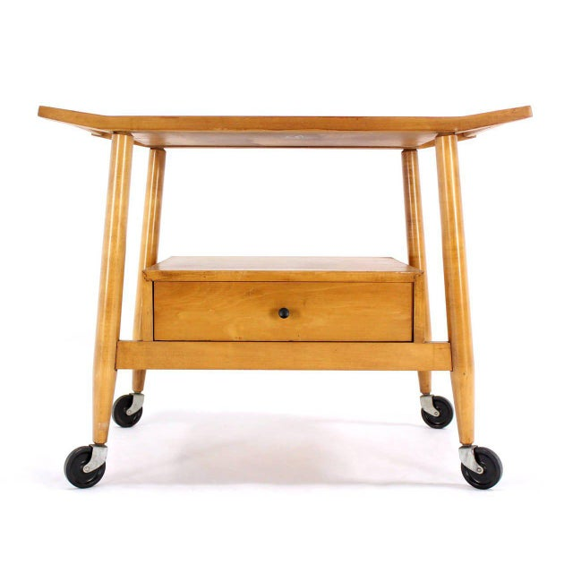 Mid-Century Modern Solid Birch Cart Serving Table For Sale In New York - Image 6 of 10