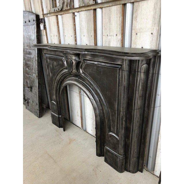 Antique Cast Iron Fireplace Mantel. Circa 19th Century.