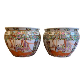 1970s Vintage Ceramic Chinese Fish Fish Bowls - Set of 2 For Sale
