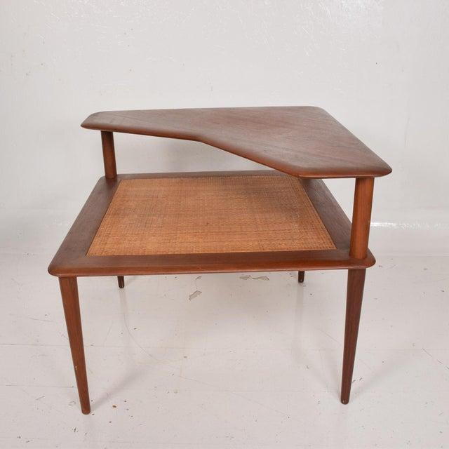 Wood France & Sons Peter Hvidt Corner Teak Cane Table Danish Modern Daverkosen For Sale - Image 7 of 9