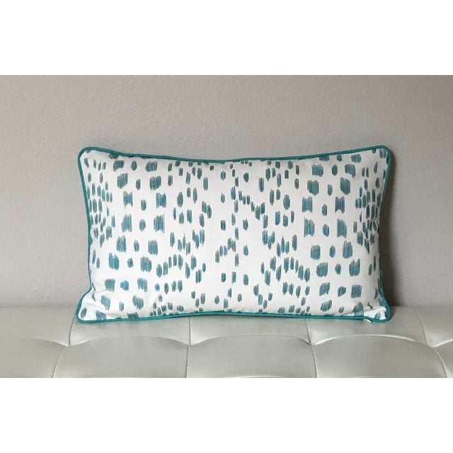 Brunschwig & Fils Contemporary Brunschwig and Fils Les Touches Animal Print in Aqua Designer Pillow Cover - 12x20 For Sale - Image 4 of 4