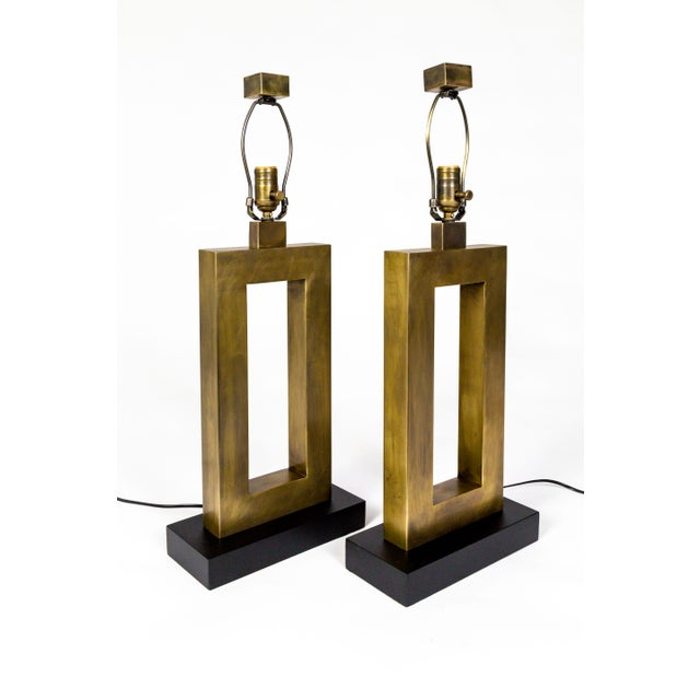 1970s Rectangular Antiqued Brass Table Lamps - a Pair For Sale - Image 10 of 11