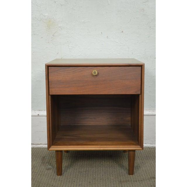 Copeland Danish Modern Style Walnut 1 Drawer Nightstand For Sale - Image 11 of 12